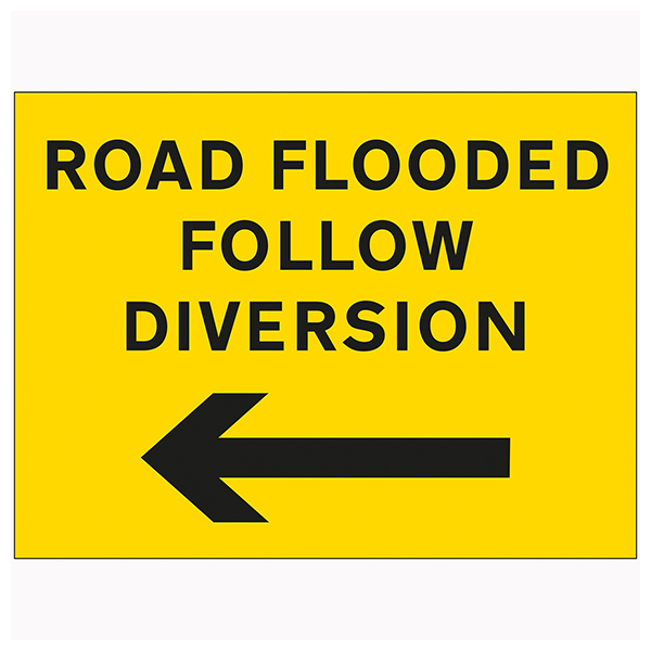 Road Flooded Follow Diversion Arrow Left