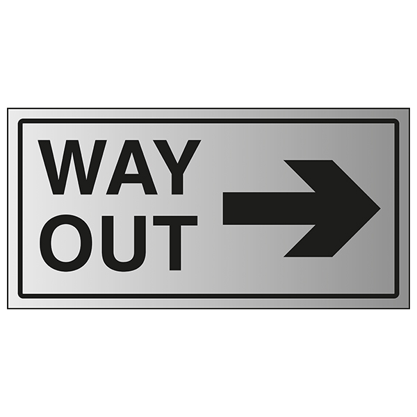 Way Out Arrow Right - Aluminium Effect