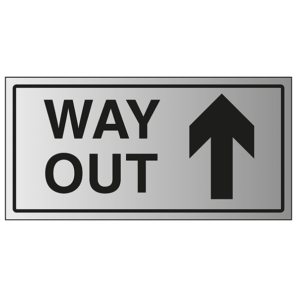 Way Out Arrow Up - Aluminium Effect