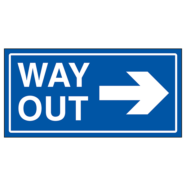 Way Out Arrow Right Blue