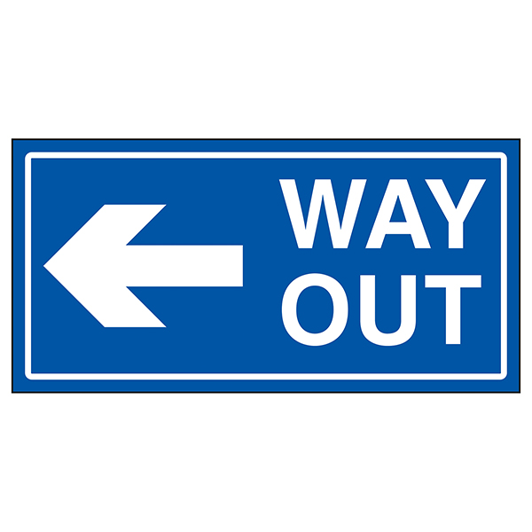 Way Out Arrow Left Blue
