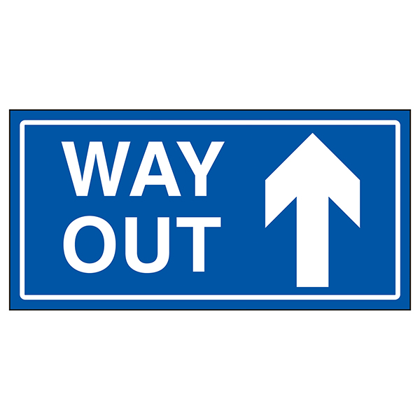 Way Out Arrow Up Blue
