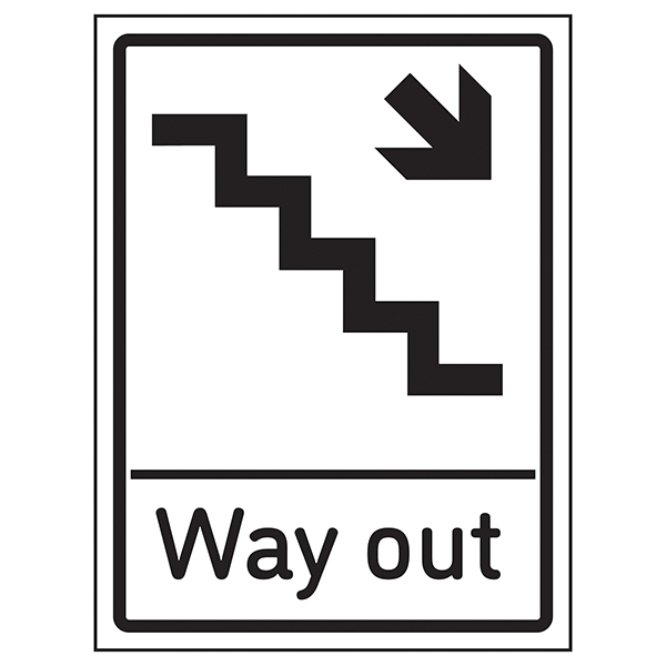 Way Out Arrow Down Stairs Right