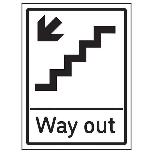 Way Out Arrow Down Stairs Left