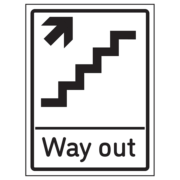 Way Out Arrow Up Stairs Right