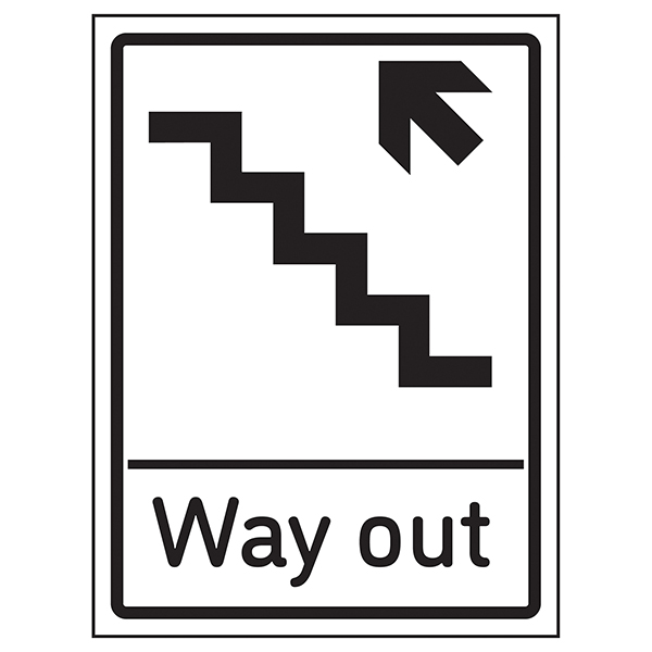 Way Out Arrow Up Stairs Left