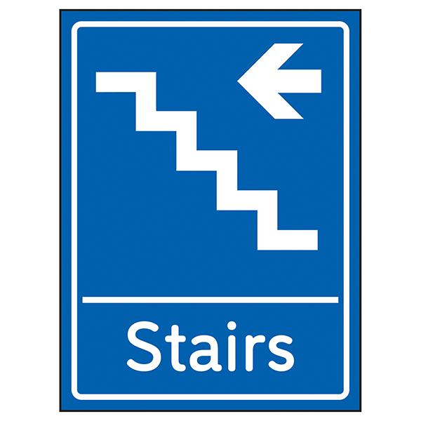 Stairs Arrow Left Blue
