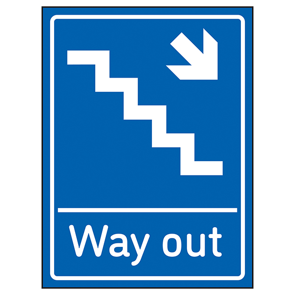 Way Out Arrow Down Stairs Right Blue