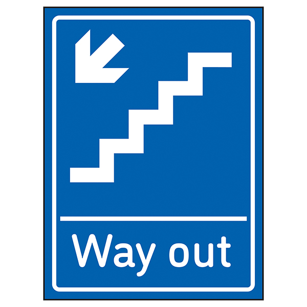 Way Out Arrow Down Stairs Left Blue