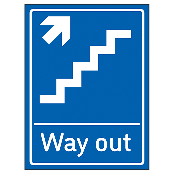 Way Out Arrow Up Stairs Right Blue