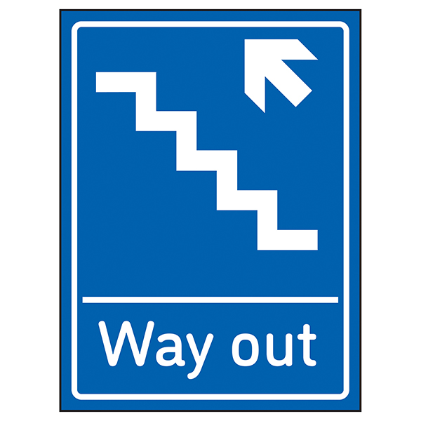 Way Out Arrow Up Stairs Left Blue
