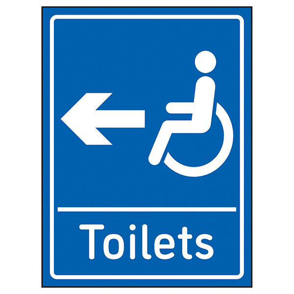 Disabled Toilets Arrow Left Blue