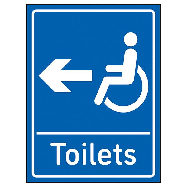 Disabled Toilets Arrow Left Blue