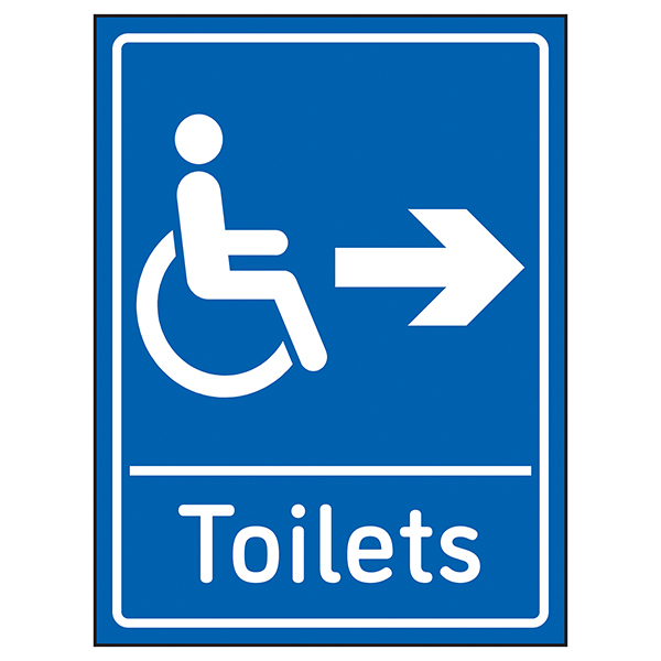 Disabled Toilets Arrow Right Blue