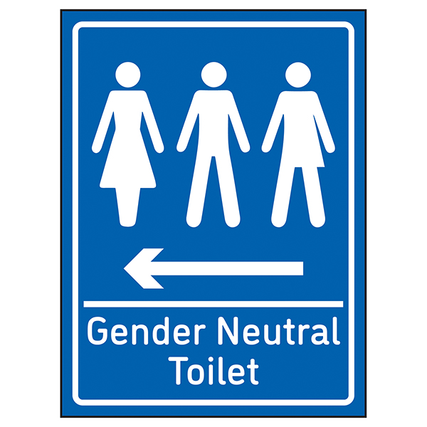 Gender Neutral Toilet Arrow Left Blue