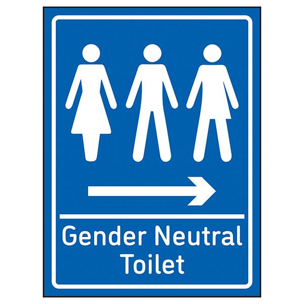 Gender Neutral Toilet Arrow Right Blue