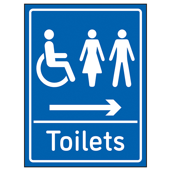 Mixed Toilets Arrow Right Blue