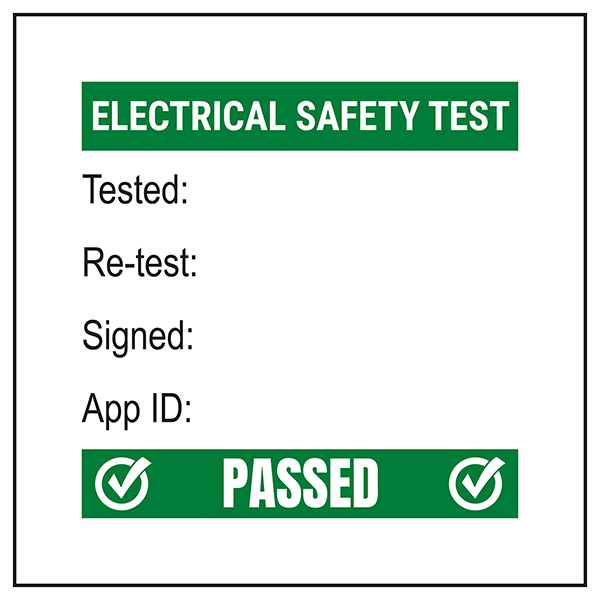 PAT Test Label - Test / Re-Test / Signed / App - Bold Green Labels On A Roll