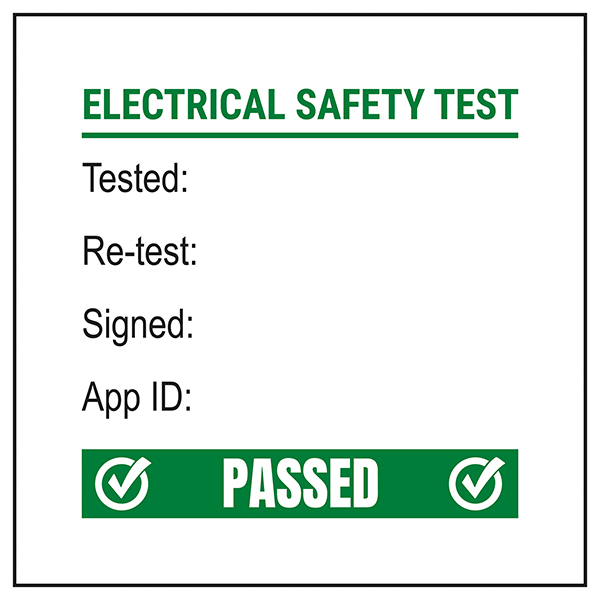 PAT Test Label - Test / Re-Test / Signed / App - Green Labels On A Roll
