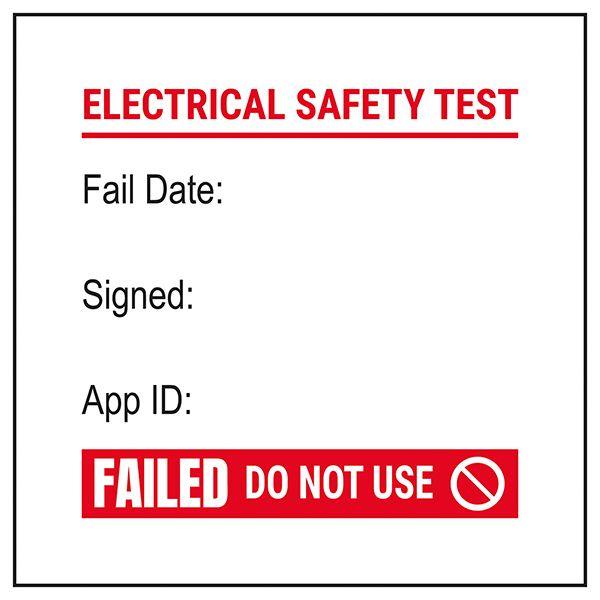 PAT Test Labels - Fail / Signed / App - Red Labels On A Roll