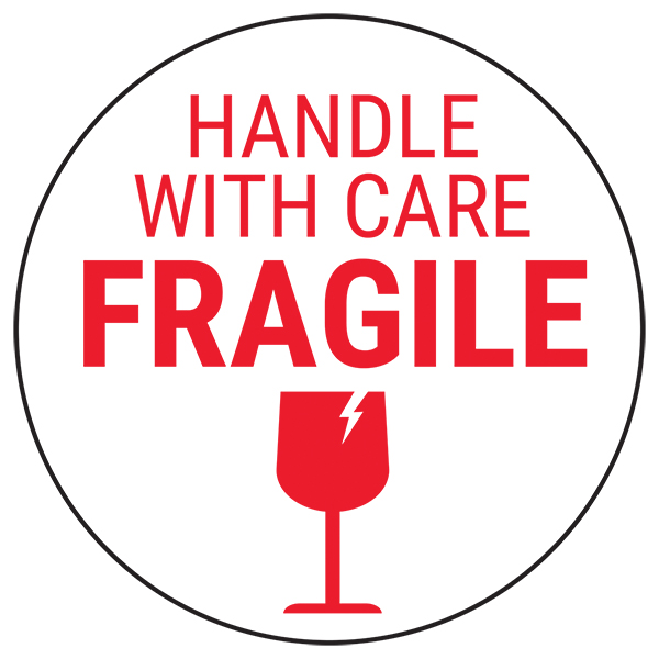 Fragile Handle With Care - Red Glass Circular Labels On A Roll
