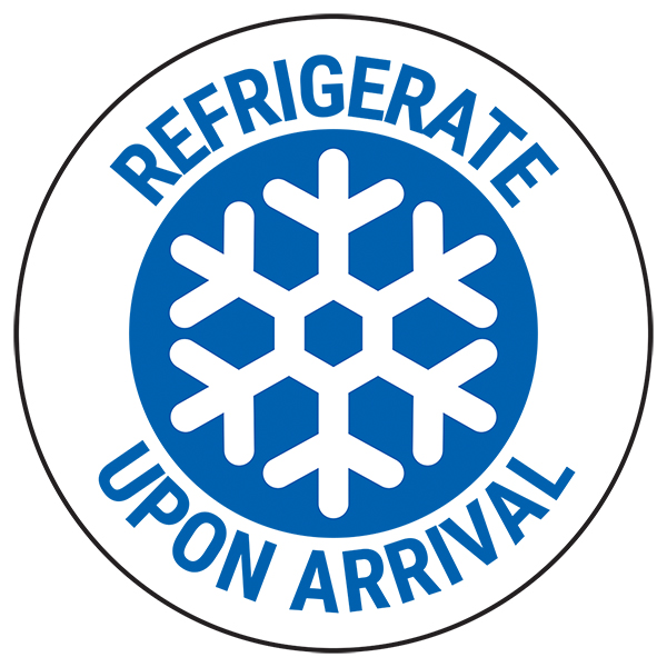 Refrigerate Upon Arrival - Blue Circular Labels On A Roll