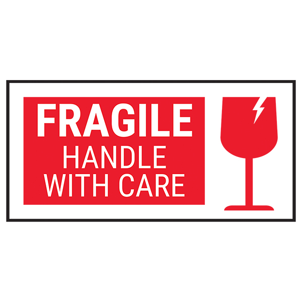 Fragile Handle With Care - Red Bold Labels On A Roll