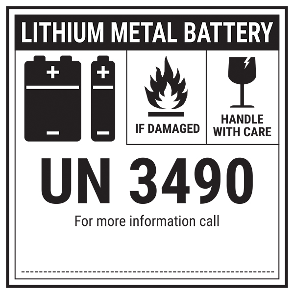Lithium Metal Battery - UN3490 Labels On A Roll