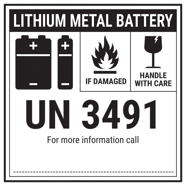 Lithium Metal Battery - UN3491 Labels On A Roll
