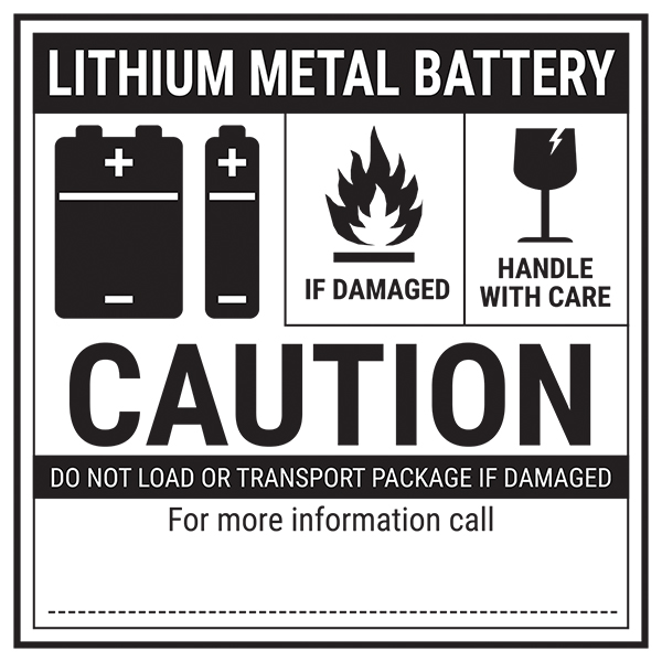 Lithium Metal Battery - Caution Labels On A Roll