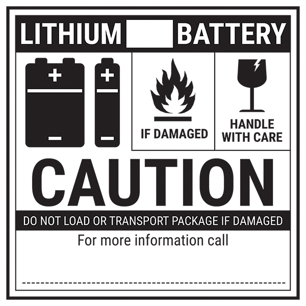 Lithium BLANK Battery - Caution Labels On A Roll