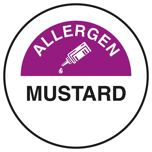 Allergen - Mustard Circular Labels On A Roll
