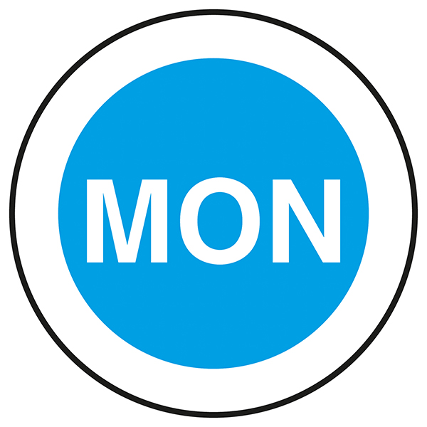 Mon - Blue Circular Labels On A Roll