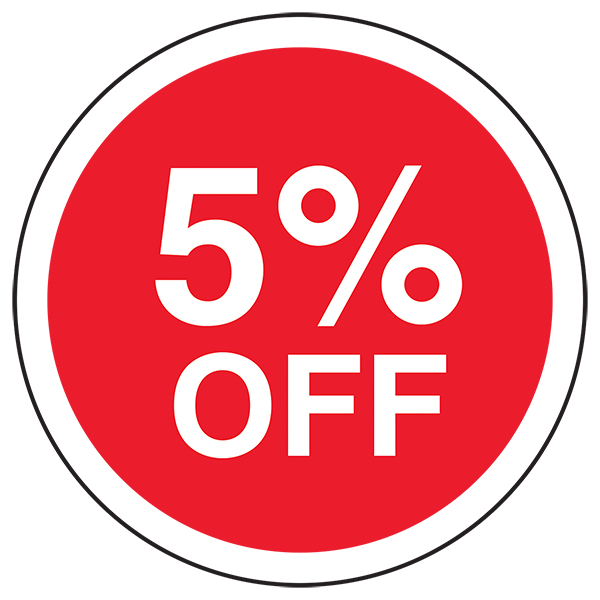 5% Off Circular Labels On A Roll