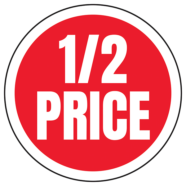 1 / 2 Price Circular Labels On A Roll