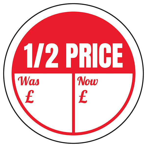 1 / 2 Price - Was / Now Circular Labels On A Roll