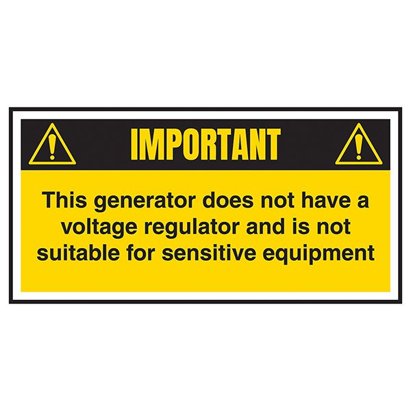 Important - Generator Does Not Have Voltage Regulator Labels On A Roll
