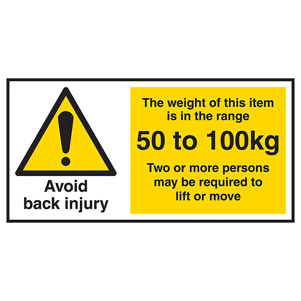 Avoid Back Injury - Weight Of This Item 50 To 100kg Labels On A Roll