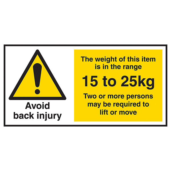 Avoid Back Injury - Weight Of This Item 15 To 25kg Labels On A Roll