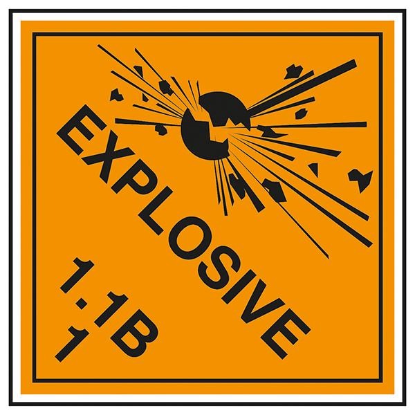 Class 1 Explosive - 1.1B Labels On A Roll