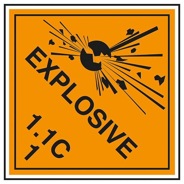 Class 1 Explosive - 1.1C Labels On A Roll
