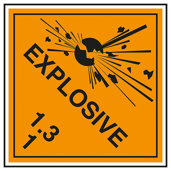 Class 1 Explosive - 1.3 Labels On A Roll