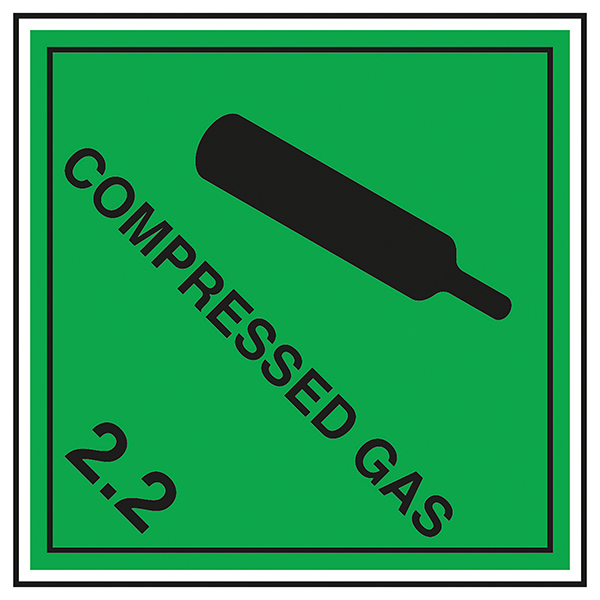 Class 2 Hazard - Compressed Gas 2.2 Labels On A Roll