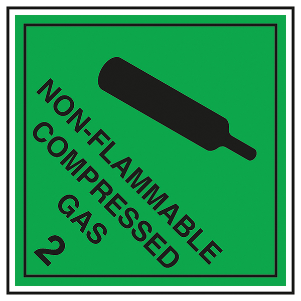 Class 2 Hazard - Non - Flammable Compressed Gas 2 Labels On A Roll