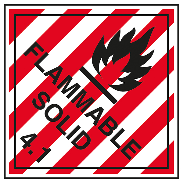Class 4 Hazard - Flammable Solid 4.1 Labels On A Roll