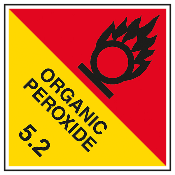 Class 5 Hazard - Organic Peroxide 5.2 - Red / Yel Labels On A Roll
